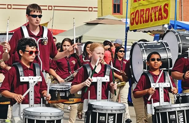Marching Band in Peanut Festival Parade, Floresville, Texas